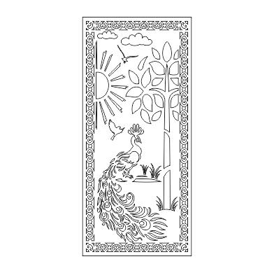 فروش فایل آماده برش پلاسما درب فلزی طرح طاووس