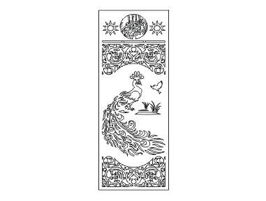 دانلود فایل برش پلاسما درب فلزی دو لنگه طرح طاووس